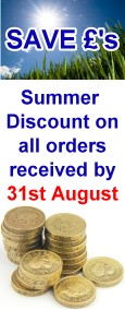 Save Pounds - Summer discount on all orders received by end of August